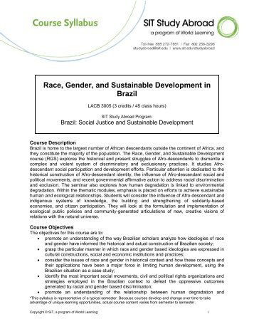 Race, Gender, and Sustainable Development in Brazil - syllabus