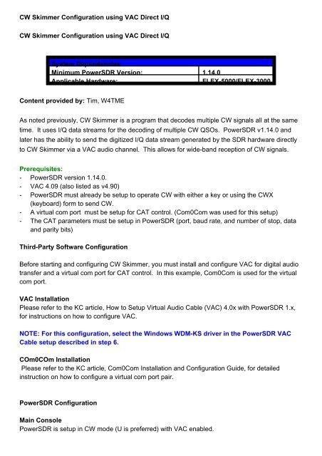 CW Skimmer Configuration using VAC Direct I/Q CW Skimmer