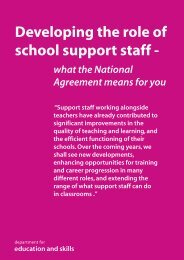 Developing the role of school support staff - Department for Education