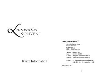 Kurze Information - Laurentiuskonvent e.V.