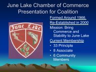 June Lake Chamber of Commerce Presentation for ... - Mono County