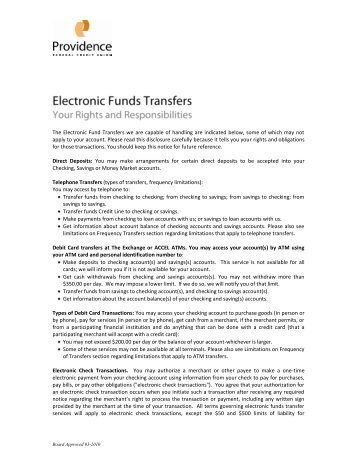 Electronic Funds Transfer Policy - Providence Federal Credit Union