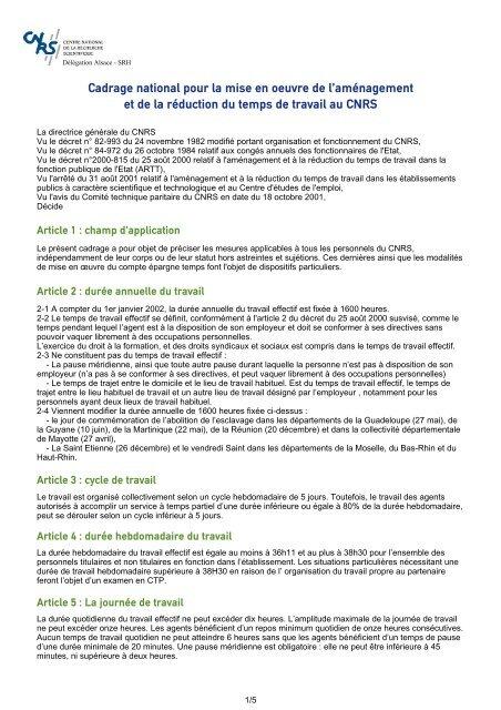 Ama C Nagement Et Ra C Duction Du Temps De Travail Cnrs Alsace