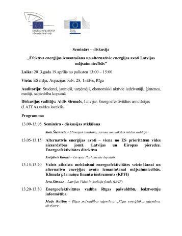 Semināra darba kārtība - Rīgas enerģētikas aģentūra
