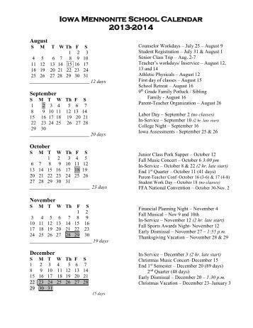 Iowa Mennonite School Calendar 2013-2014