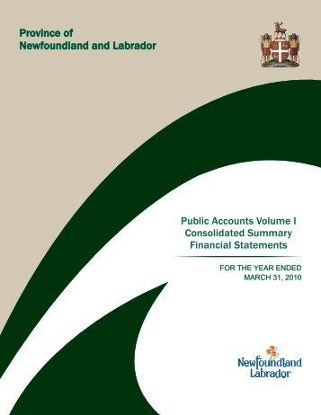 Volume I - Finance - Government of Newfoundland and Labrador