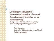 Udviklingen i udbuddet af universitetsuddannelser i Danmark ...