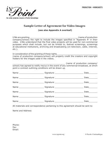 Sample Letter Of Agreement For Music - The Cinematheque