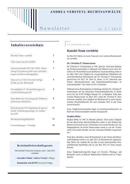 Newsletter II/2012 - Andrea Versteyl