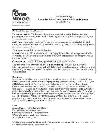 2012 ED job posting final - One Voice Mixed Chorus