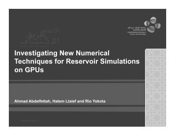 New Numerical Techniques for Reservoir Simulations on GPUs ...
