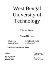 Tender Paper for Photo ID card (last date 21/2/2013) - WBUT