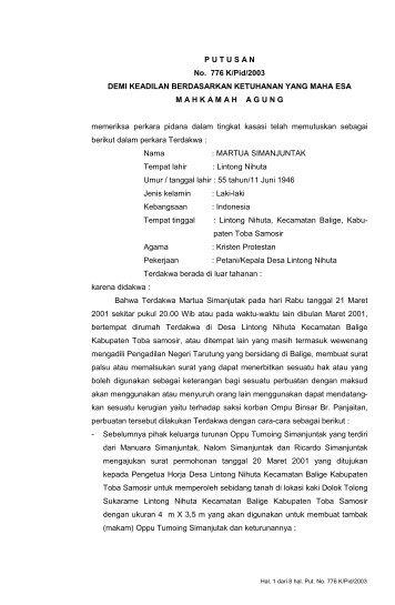 PUTUSAN No. 776 K/Pid/2003 DEMI KEADILAN BERDASARKAN ...