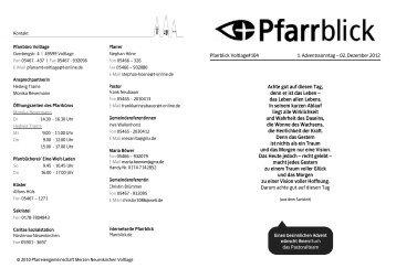 Pfarrblick Voltlage#104 1. Adventssonntag – 02. Dezember 2012 ...