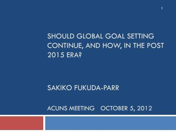 Should global goal setting continue, and How, in the post ... - acuns