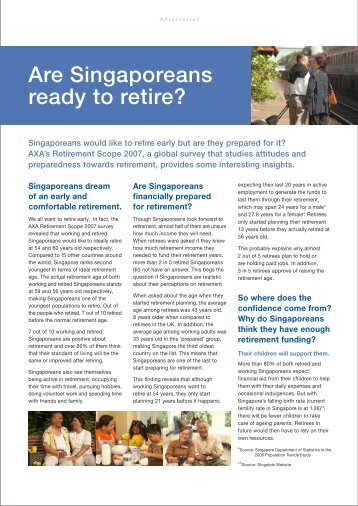 Are Singaporeans ready to retire? - AXA Life Insurance Singapore
