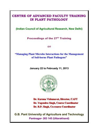 Managing Plant Microbe Interactions for the Management of Soil ...