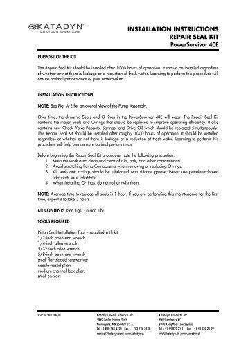 Installation Instructions Repair Seal Kit PS 40E