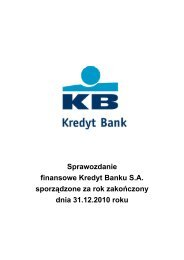Sprawozdanie finansowe Kredyt Banku S.A. sporządzone za rok ...