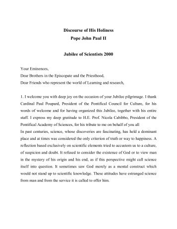 Discourse of His Holiness Pope John Paul II Jubilee of ... - STOQ