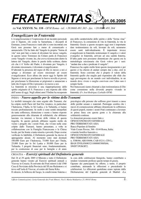 FRATERNITAS 01.06.2005 Evangelizzare in Fraternità - OFM