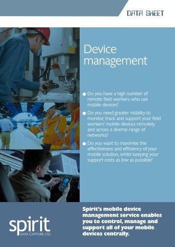 Download the Device Management Datasheet - Spirit Data Capture