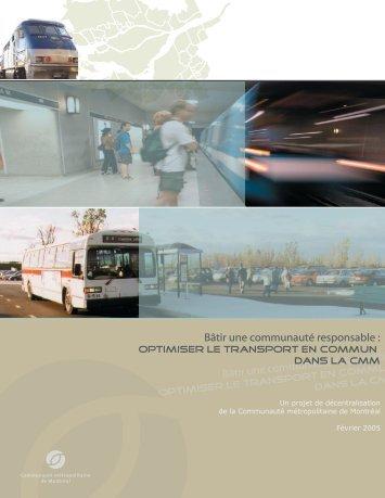 Optimiser le transport en commun dans la CMM - Communauté ...