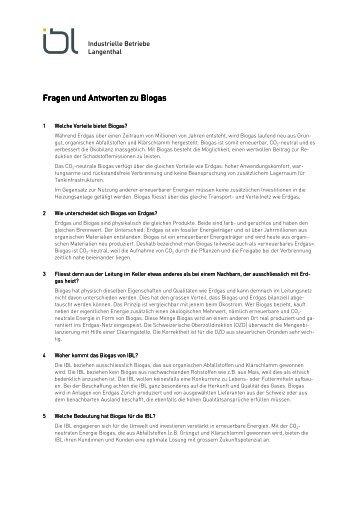 Fragen und Antworten zu Biogas - Industrielle Betriebe Langenthal