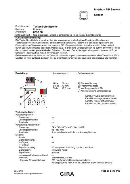 instabus EIB System Sensor Taster-Schnittstelle 0556 00 ABCD - Gira