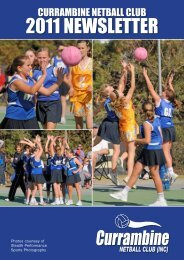 March Newsletter - Currambine Netball Club