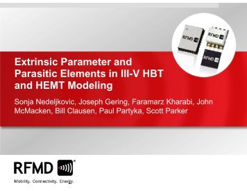 Extrinsic Parameter and Parasitic Elements in III ... - RF Micro Devices