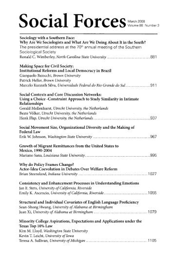 Table of Contents (PDF) - Social Forces