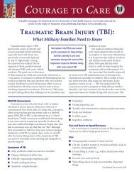Traumatic Brain Injury (TBI) What Military Families Need to Know