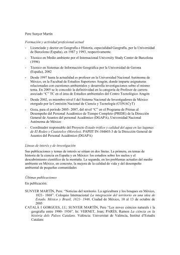 Pere Sunyer Martín Formación y actividad profesional actual - Ciesas