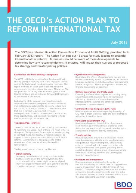 The OECD's Action Plan to Reform International Tax - BDO Canada