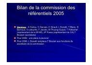 Bilan de la commission des référentiels 2005 - SRLF