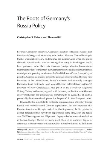 The Roots of Germany's Russia Policy - Thomas Rid