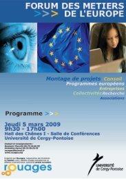 Programme >>> - Université de Cergy Pontoise