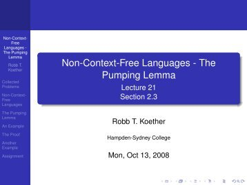 Non-Context-Free Languages - The Pumping Lemma - Hampden ...