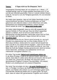 5 Tipps nicht nur für Ehepaare, Teil 2 - FeG Dresden