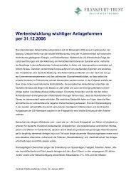 Wertentwicklung wichtiger Anlageformen per 31.12.2006
