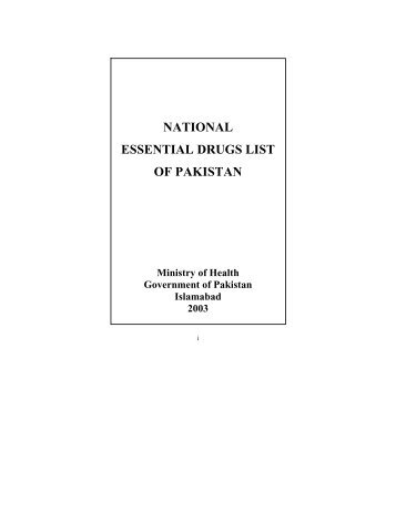 NATIONAL ESSENTIAL DRUGS LIST OF PAKISTAN