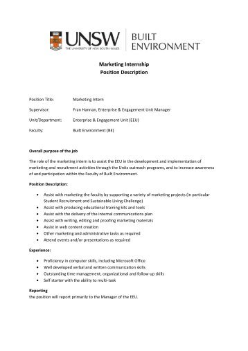 Marketing Intern Job Description  StaruptalentCom