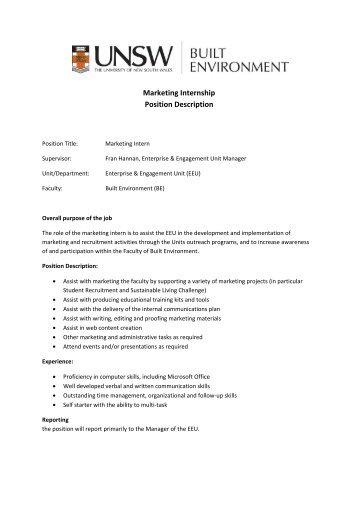 Marketing Internship Position Description
