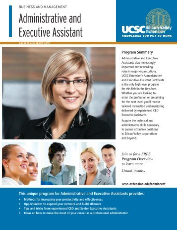 Administrative and Executive Assistant - UCSC Extension Silicon ...