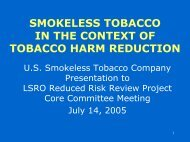 Smokeless Tobacco and Risk Reduction