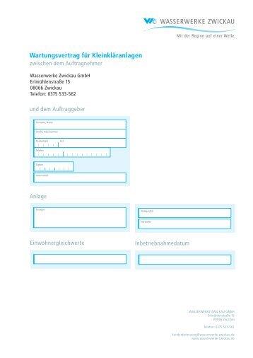 Wartungsvertrag für Kleinkläranlagen - Wasserwerke Zwickau GmbH