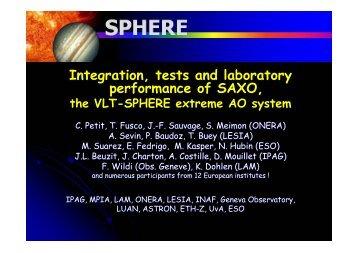 Integration, tests and laboratory performance of SAXO, - AO4ELT 2