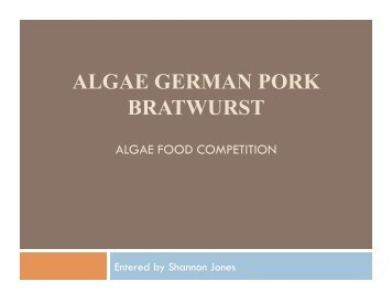 algae german pork bratwurst - International Algae Competition
