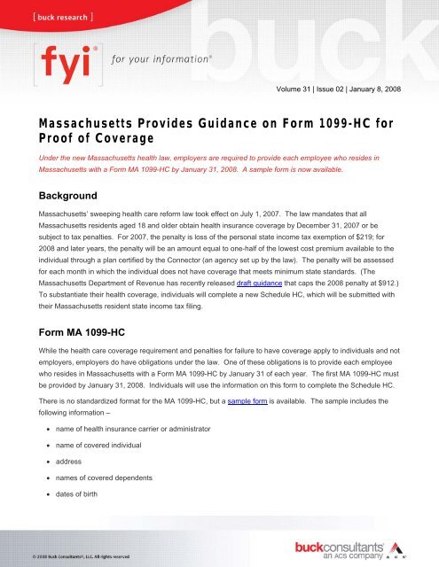 1099 form health insurance  Massachusetts Provides Guidance on Form 17-HC for Proof of ...